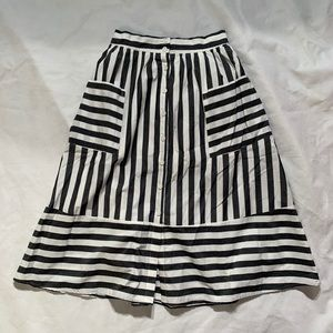 Who What Wear Size 6 Striped Flare Midi Skirt